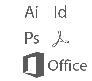 PC-Programme: Adobe Illustrator, InDesign, Photoshop, Acrobat DC, Microsoft Office