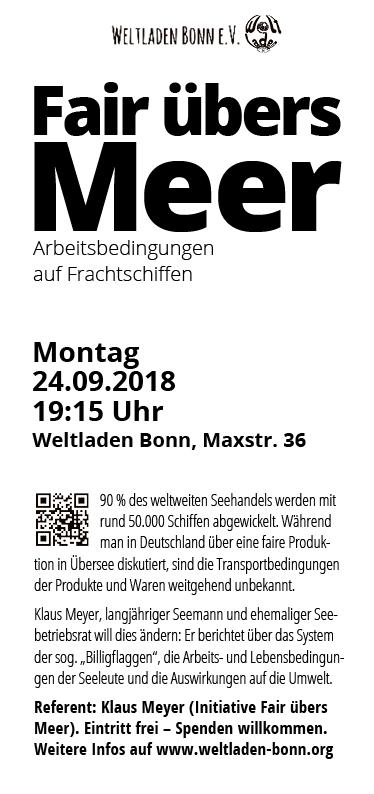 "Weltladen Bonn – Veranstaltungsflyer ""Fair übers Meer"""