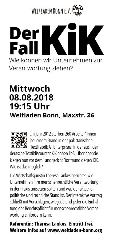 "Weltladen Bonn – Veranstaltungsflyer ""Der Fall KiK"""