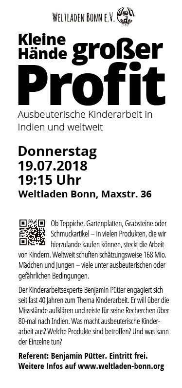 """Weltladen Bonn – Veranstaltungsflyer """"Kleine Hände – großer Profit"""""""