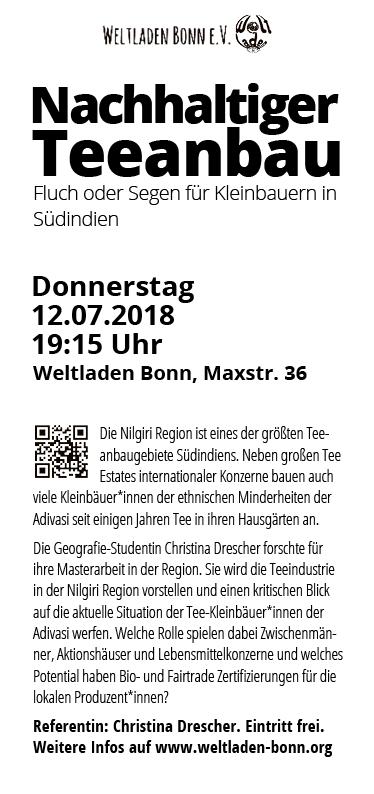 """Weltladen Bonn – Veranstaltungsflyer """"Nachhaltiger Teeanbau"""""""