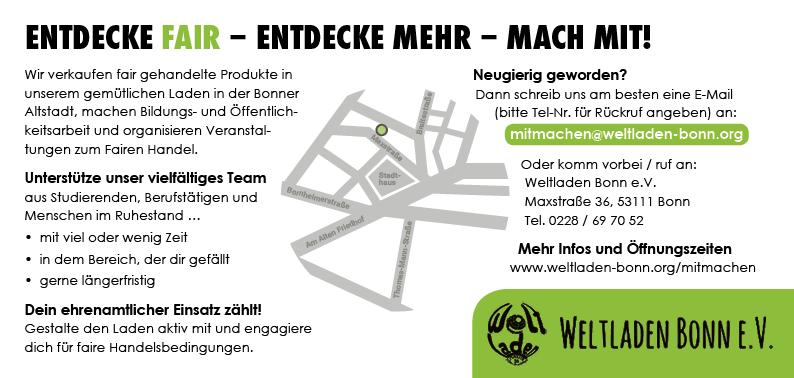Weltladen Bonn – Mitmach-Flyer (Rückseite)