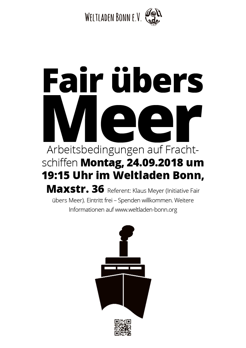 "Weltladen Bonn – Veranstaltungsplakat ""Fair übers Meer"""