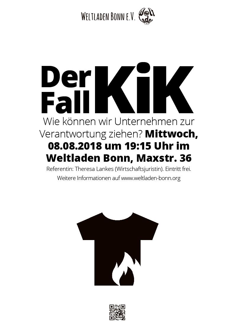 """Weltladen Bonn – Veranstaltungsplakat """"Der Fall KiK"""""""