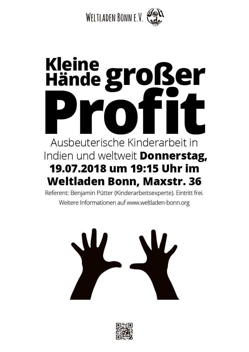 """Weltladen Bonn – Veranstaltungsplakat """"Kleine Hände – großer Profit"""""""