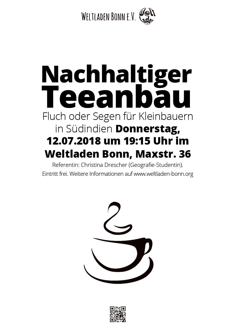 """Weltladen Bonn – Veranstaltungsplakat """"Nachhaltiger Teeanbau"""""""
