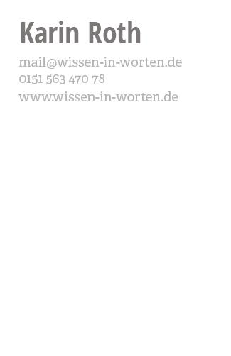 Wissen in Worten – Visitenkarte (Rückseite)